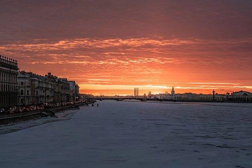 St Petersburg, Sunset, Russia, Winter, Evening