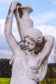 Statue, Greek, Greece, Spring, Sky, Blue, Clouds, Face