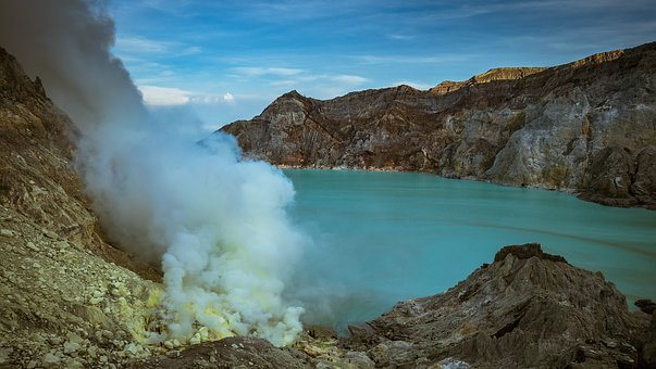 Sulfur, Crater, Lake, Smoke, Mountains, Sulfuric Acid