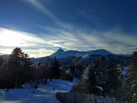 Mountain, Ski, Snow, Clouds, The Lioran, Massif Central