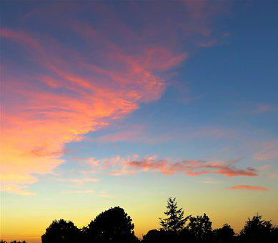 Nature, Afterglow, Sunset, Golden Red, Clouds