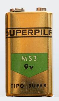 Superpila, Stack, Vintage, 9-volt Battery