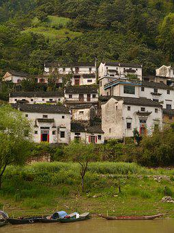 The Ancient Village, Houses, Wharf Wall, Anhui