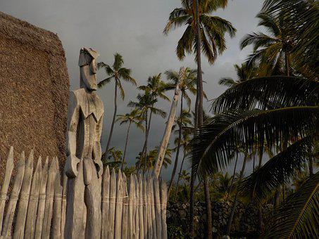 Hawaii, Totem, Tribal, Wooden, Statue, Carving, Tiki