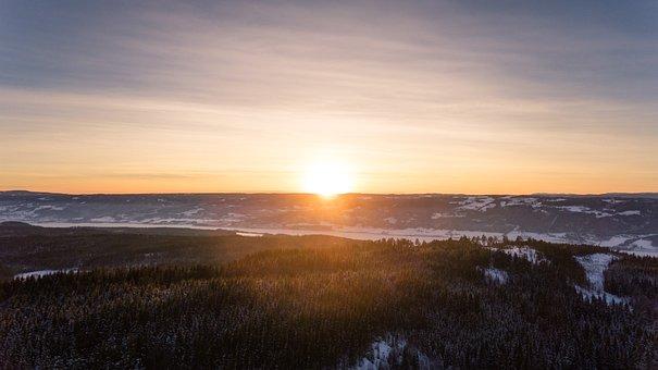 Sun, Dawn, Sunset, Nature, Winter, Landscape, Aerial