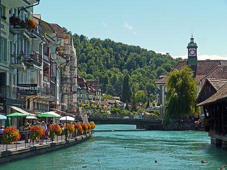 Switzerland, Thun, Downtown, Aare, Promenade