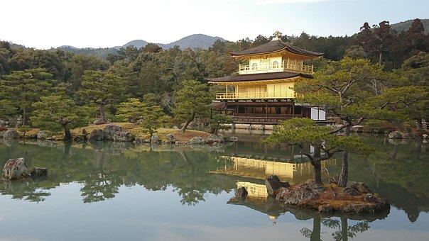 Golden Pavilion, Japan, Kyoto, Temple, Golden, Asian