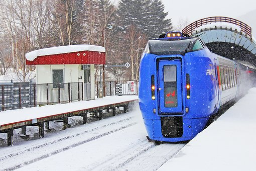 Train, Snowing, Beautiful, Cold, White, Snowy, Winter