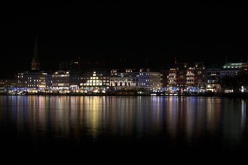 Hamburg, Night, Christmas Market, Outer Alster, Alster
