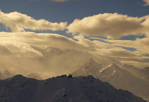 Mountains, Clouds, The Top Of The Mountain