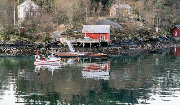 Norway, Coast Line, Water, Reflection, Red House