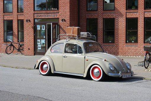 Auto, Beetle, Retro, Design, Denmark, Old Suitcase