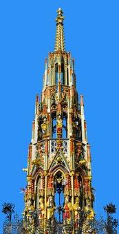 Building, Beautiful Fountain, Nuremberg, Golden, Gilded