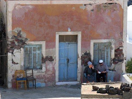 Greece, Santorini, Greek Island, Couple, Old Couple