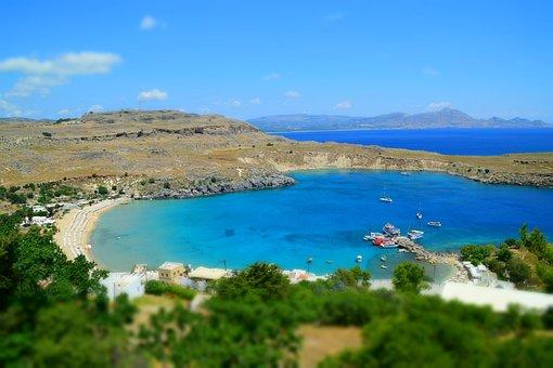 Lake, Rhodes, Lindos, Greece, Holiday, Nature, Coast