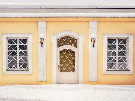 Facade, Yellow, Door, Lamps, Building, House