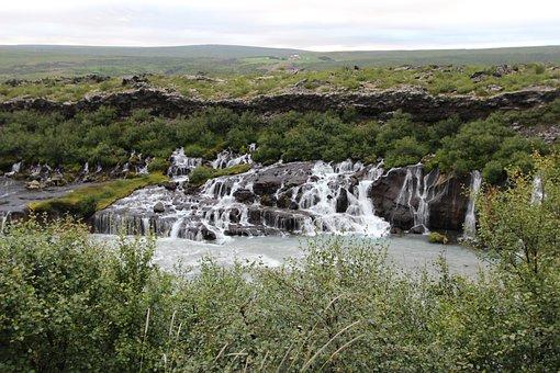 Waterfall, Iceland, Reykjavik, Hraunfossar