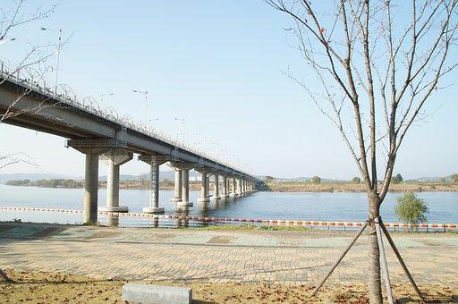 Overpass, Riverside, River, Field, Korea, Landscape
