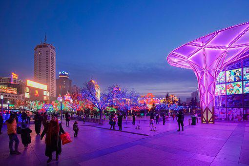 Chinese New Year, Xining Center Square, Night