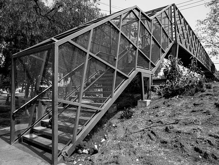 Pedestrian Bridge, Black And White, Nature And Urbanism