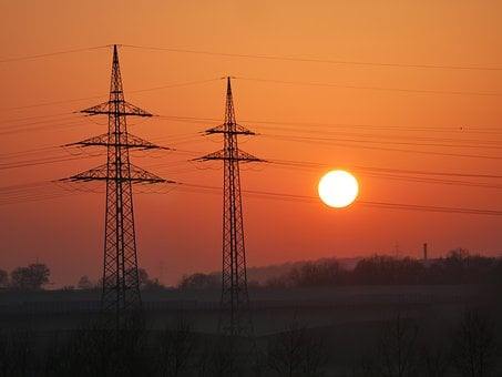 Dusk, Power Poles, Industry, Traffic, Opposites