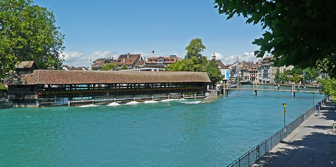 Switzerland, Thun, Aare, Division, Weir, Covered, River