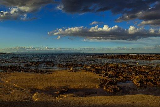 Beach, Sea, Horizon, Sky, Clouds, Nature, Afternoon