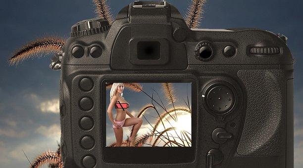 Camera, Photograph, Battery, Woman, Back Light, Solar