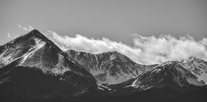 Mountains, Bland And White, Fog, Colorado, Snow