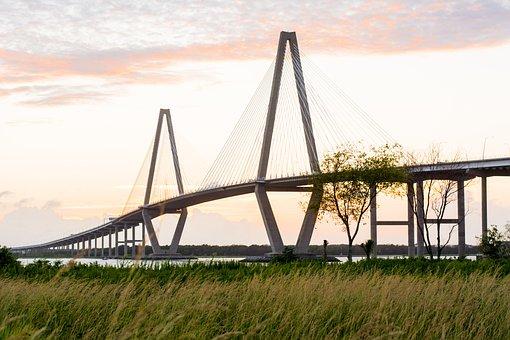 Bridge, Charleston, South, Southern, Sunset, Landscape