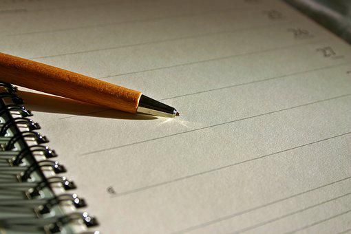 Calendar, Entry, Ring Binder, Write, Pen, Lined, Block