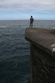Sea, Fishing, Fisherman, Fishing Rod, Calm, Spain