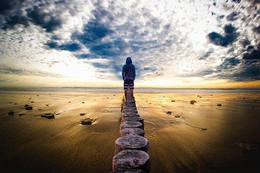 Man, Horizon, Landscape, Sea, Sand, Look, Clouds, Side
