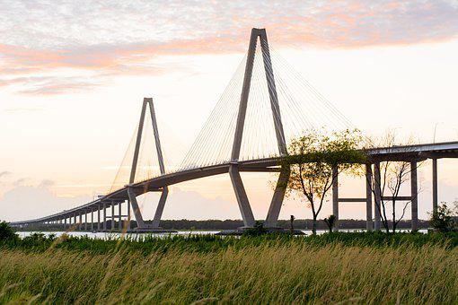 Bridge, Charleston, South, Southern, Sunset, Landscape