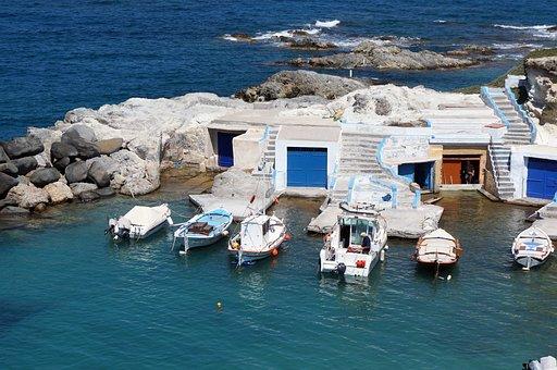 Greek Island, Milos, Fishermen's Houses, Fishing Boats