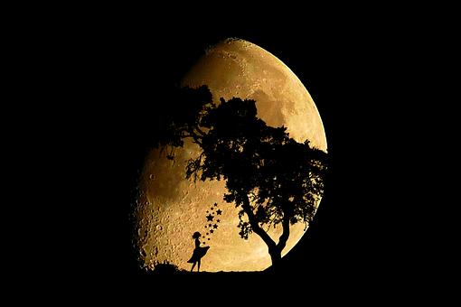 Moon, Moonlight, Sterntaler, Girl, Fairy Tales