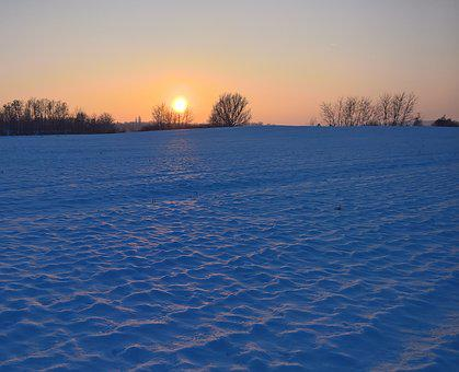 Landscape, Winter, Sunset, Nature