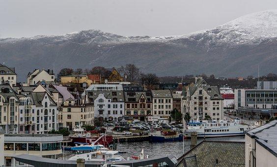 Norway Coast, Alesund, Mountains, Architecture