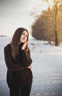 Girl, Portrait, Thinking, Lost, Sunset, Light, Sun