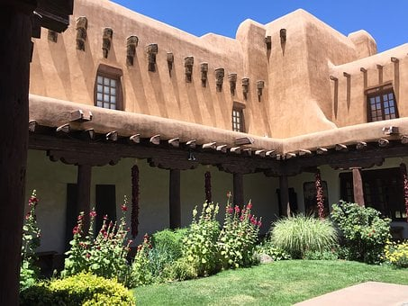 Santa Fe, Building, Courtyard, New Mexico, Usa, Travel