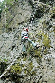 Climb, Abseil, Steep, Descent, Wall, Adventure, Slick