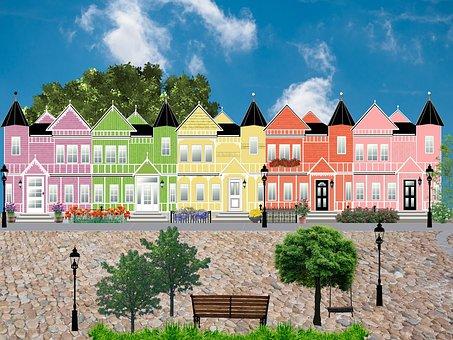 Street, Houses, Facade, Architecture, District, Lantern