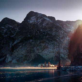 Mountain, Sunbeam, Almsee, Sun, Mood, Landscape, Nature