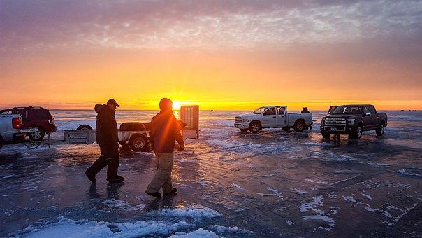 Ice Fishing, Winter, Lake, Sunrise, Walking, Outdoor