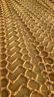 Tire Tracks, Sand, Traces, Tire Track, Vehicle Trail