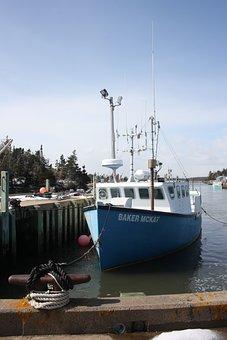Boat, Ocean, Coast, Village, Blue, Fishing, Water, Ship