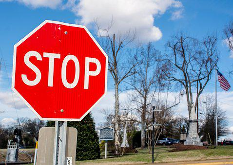 Stop Sign, Red, Blue Sky, Winter, Trees, Road, Town