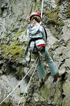 Climbing, Abseil, Steep, Descent, Wall, Adventure