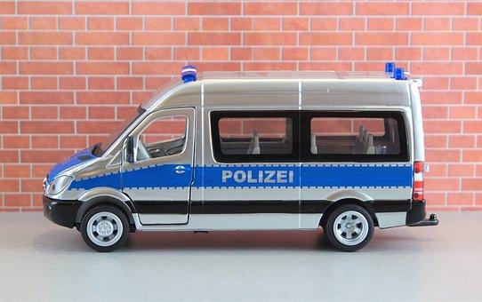 Model Car, Auto, Police Car, Police, Team Bus, Bus