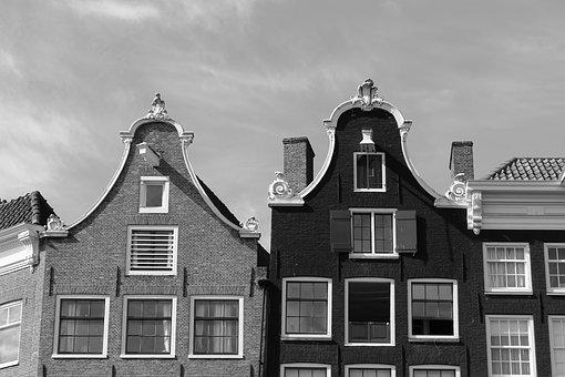 Amsterdam, Gable, Black And White, Facades